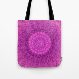 Sunflower Peacock Feather Bohemian Pattern \\ Aesthetic Vintage \\  Bright Fuchsia Pink Color Scheme Tote Bag