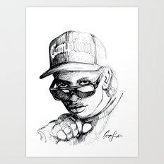 Digital Drawing #34 - Easy E in Black & White Art Print