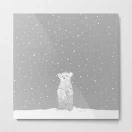 Polar Bear in a Snow Storm Grey Metal Print