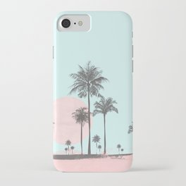 Beachfront palm tree soft pastel sunset graphic iPhone Case