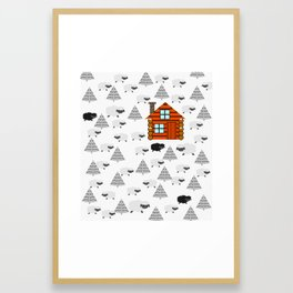 Winter cabin with sheep Framed Art Print