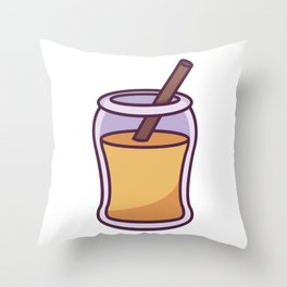 An Open Jar of Honey With a Stick in It Throw Pillow