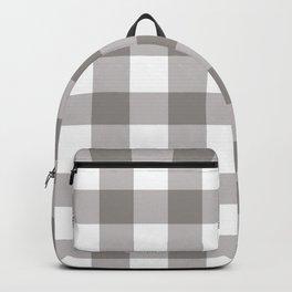 Grey & White Plaid Backpack
