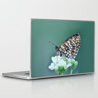sofa Laptop & iPad Skins featuring flower sofa by LindaMarieAnson