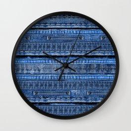 Cool Blue Jeans Denim Patchwork Design Wall Clock