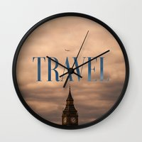 travel poster Wall Clocks featuring Travel by Efty