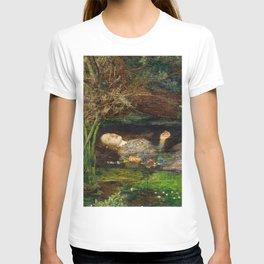 Ophelia Brick Wall Painting by Sir John Everett Millais T-shirt