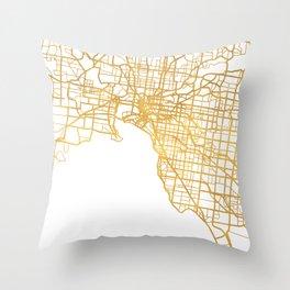 MELBOURNE AUSTRALIA CITY STREET MAP ART Throw Pillow