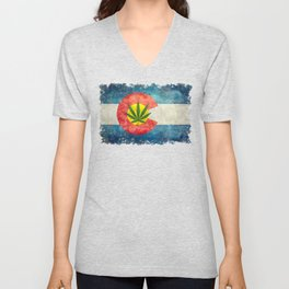 Retro Colorado State flag with leaf - Marijuana leaf that is! Unisex V-Neck