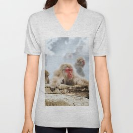 The Japanese macaque also known as the snow monkey Unisex V-Neck