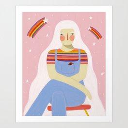 Rainbows and overalls  Art Print