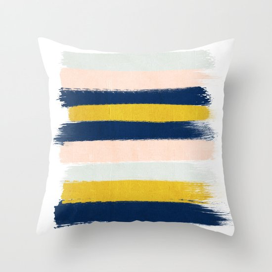 Stripes minimal trendy color palette gold silver metallic minimal home decor Throw Pillow by ...