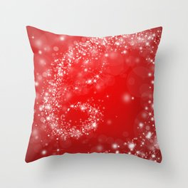 Elegant red white abstract Christmas pattern Throw Pillow