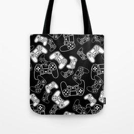Video Games White on Black Tote Bag