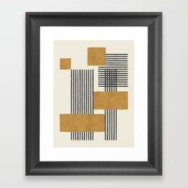 Stripes and Square Composition - Abstract Framed Art Print