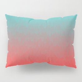 Cyan to red ombre flames Miami Sunset Pillow Sham