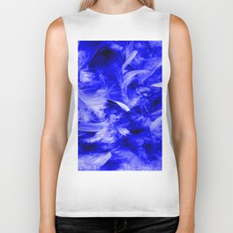 Colorful Feathers,blue Biker Tank