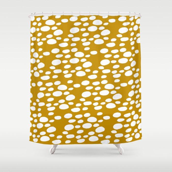 Monstera Leaf Hole Pattern - mustard yellow Shower Curtain