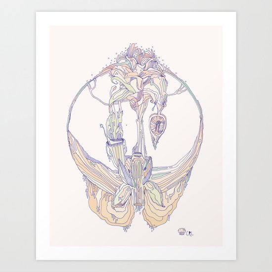 coral orchid Art Print