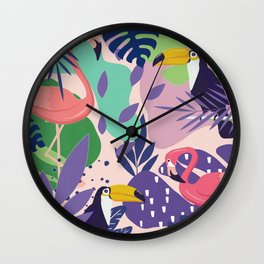 Tropical Jungle With Flamingos And Toucans Memphis Style Wall Clock
