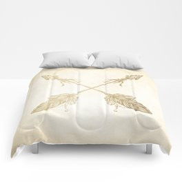 Tribal Arrows Gold on Paper Comforters