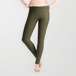 Solid Color Pantone Martini Olive 18-0625 Green Leggings