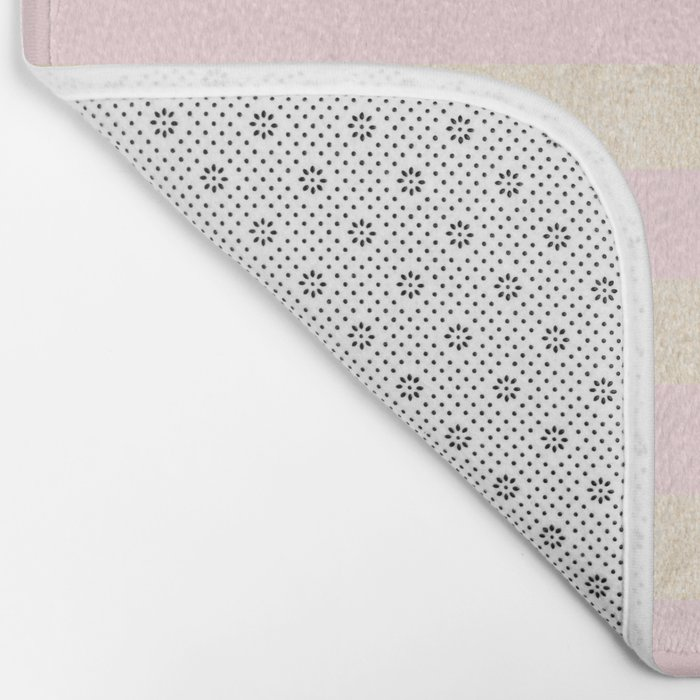 Stripes White Gold Sands on Pink Flamingo Bath Mat