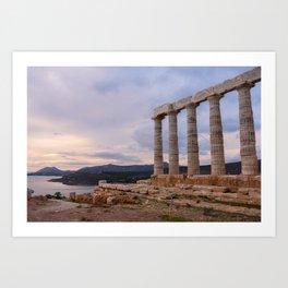 Temple of Poseidon at Sunset - Greece Art Print