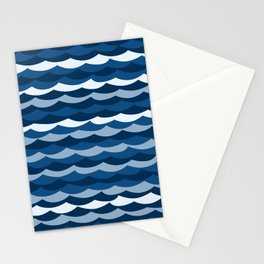 Classic Blue Wave Pattern Stationery Cards
