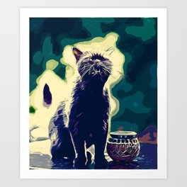 british shorthair cat ready to attack vector art foggy night Art Print
