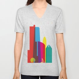 Shapes of Chicago. Accurate to scale Unisex V-Neck