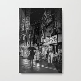 Fine Art Photography Tokyo Streets Black and White Metal Print