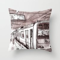 subway Throw Pillows featuring Subway by Jonas Ericson