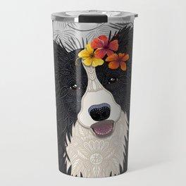Happy Border Collie with Flowers Travel Mug