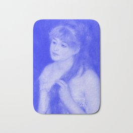 Japanese Porcelain Young Woman Braiding Her Hair Bath Mat
