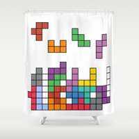 tetris Shower Curtains featuring Tetris by Adayan