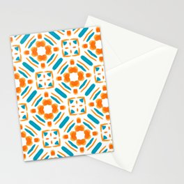 Origami Petals, blue and orange Stationery Cards