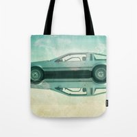 delorean Tote Bags featuring Siamese  Delorean by Vin Zzep