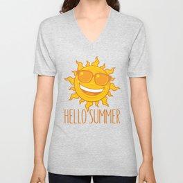Hello Summer Sun With Sunglasses Unisex V-Neck