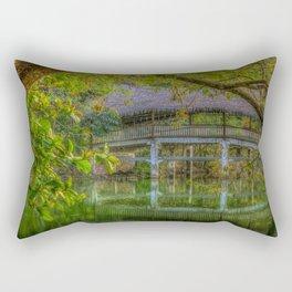 Tropical Bridge Reflecting in Emerald Green Water Rectangular Pillow