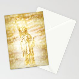 NEW YORK CITY Statue of Liberty with American Banner | golden painting Stationery Cards