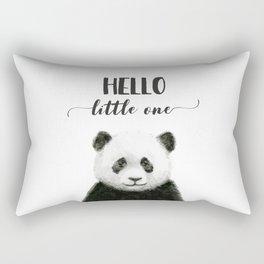 Panda Art Print Baby Animals Hello Little One Nursery Decor Rectangular Pillow