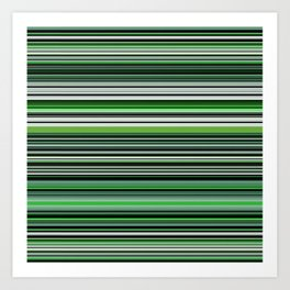 Emerald & Forest Stripes Art Print