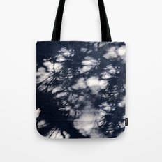 Navy Blue Pine Tree Shadows on Cement Tote Bag