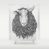sheep Shower Curtains featuring Sheep by Thea Nordal