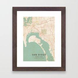 San Diego, United States - Vintage Map Framed Art Print