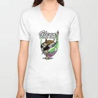 warcraft V-neck T-shirts featuring Glenn, Battle Ostrich by Siegeworks