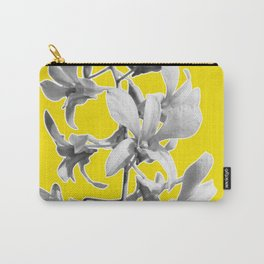 Yellow Grey Orchid Print Carry-All Pouch