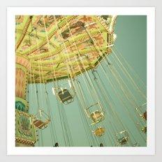 Swingin' IV Fair Carnival Swings Ride Amusement Park Rainbow Whimsical Fun Art Print