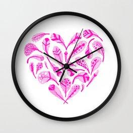 Feather Heart (Magenta) Wall Clock